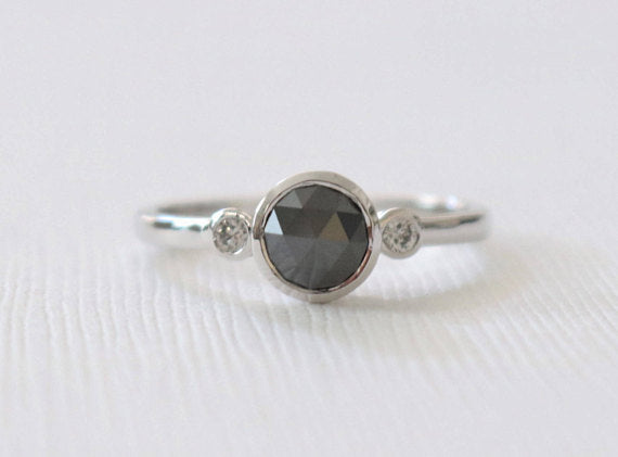 3 Stone Rose Cut Black Diamond Bezel Ring in 14K White Gold