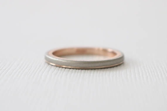 2-Tone Wedding Band in 14K Matte Finish Gold