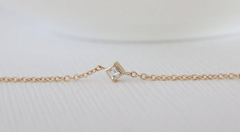 Square Baguette Cut Diamond Bezel Necklace in 14K Yellow Gold