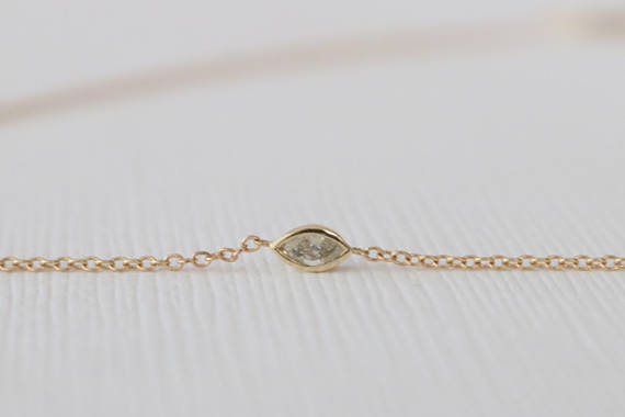 Marquise Champagne Diamond Bezel Necklace in 14K Yellow Gold