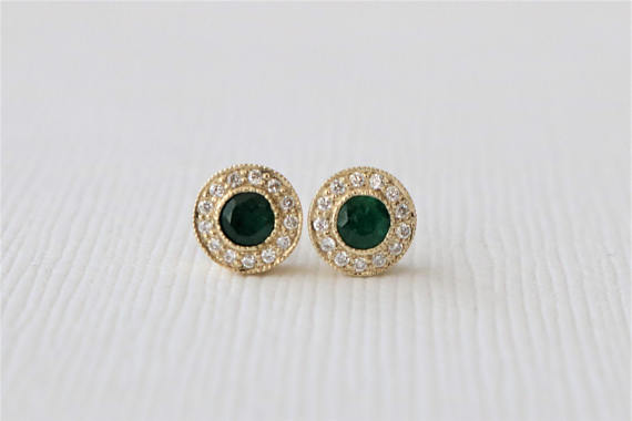 Emerald Diamond Halo Stud Earrings in 14K Yellow Gold