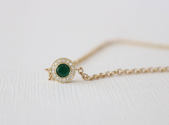 Emerald Diamond Halo Bracelet in 14K Yellow Gold