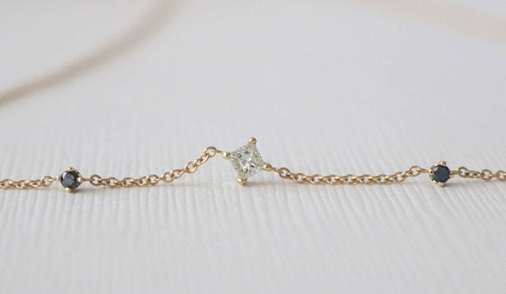 Diamond and Sapphire Station Necklace in 14K Yellow Gold