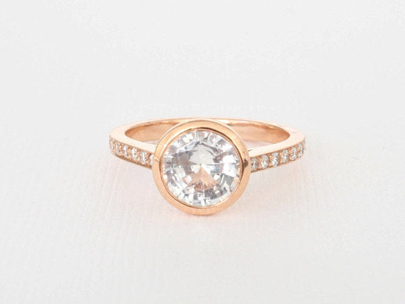 Round White Sapphire Bezel Diamond Engagement Ring in 14K Rose Gold