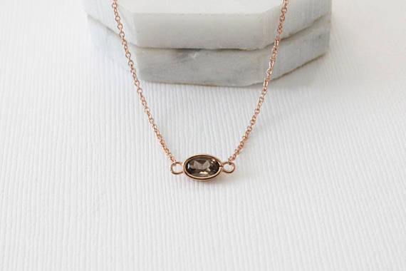 Smoky Topaz Bezel Necklace in 14K Rose Gold