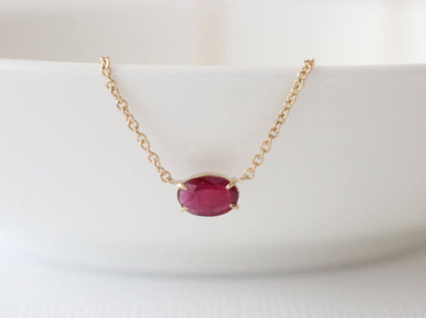 Oval Ruby Solitaire Necklace in 14K Yellow Gold