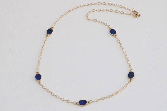 Lapis Lazuli Oval Station Necklace in 14K Yellow Gold
