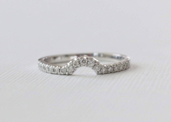 Handmade Curved Diamond Band in 14K White Gold