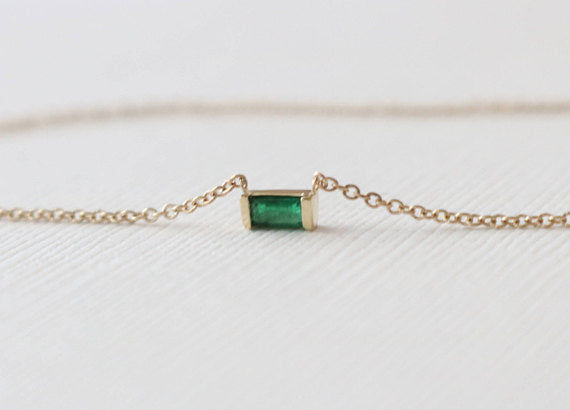Emerald Bar Set Necklace in 14K Yellow Gold