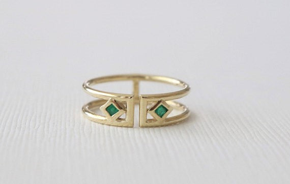 Princess Cut Emerald Bezel Cuff Ring in 14K Yellow Gold