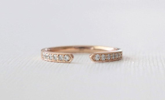 Half Eternity Pave' Diamond Cuff Ring in 14K Rose Gold