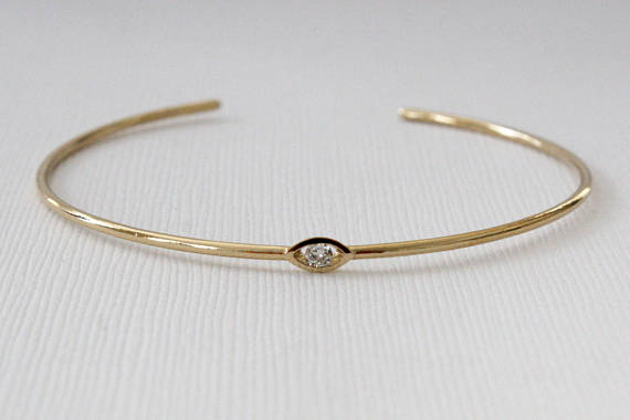 Solid Gold Evil Eye Diamond Bangle Bracelet in 14K