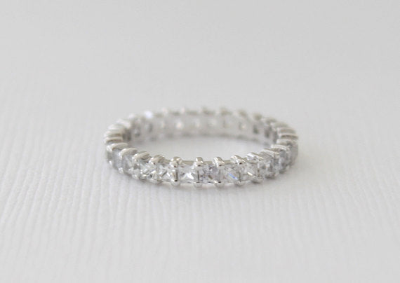 Full Eternity White Sapphire Stacking Band in 14K White Gold
