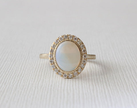 Oval Opal Diamond Milgrained Halo Ring in 14K Yellow Gold