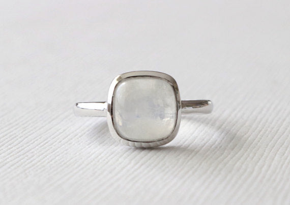 3 Cts. Cushion Moonstone Bezel Ring in 14K White Gold