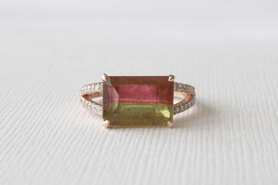 Watermelon Tourmaline Split Shank Diamond Ring in 14K Rose Gold