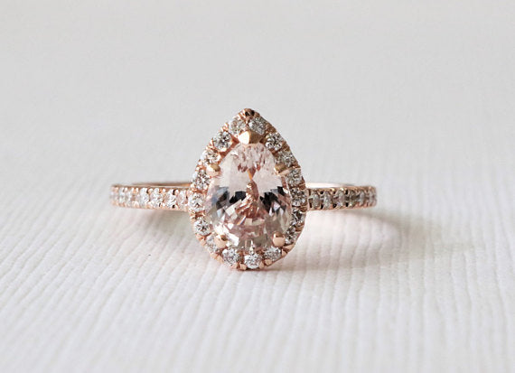 Pear Cut Peach Sapphire Diamond Halo Ring in 14K Rose Gold