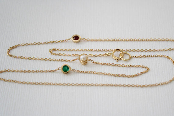 Birthstone Station Necklace in 14K Yellow Gold