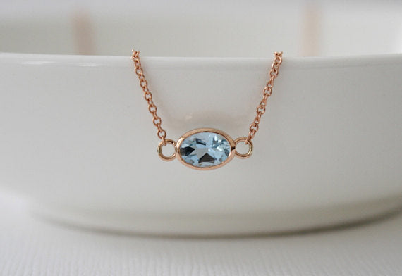 Oval Aquamarine Bezel Necklace in 14K Rose Gold