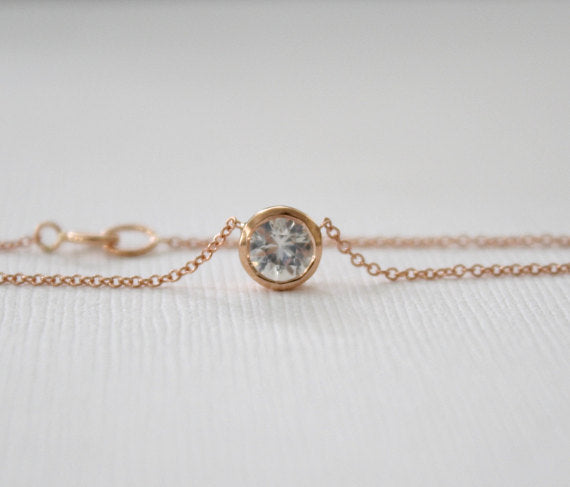 White Sapphire Bezel Necklace in 14K Rose Gold
