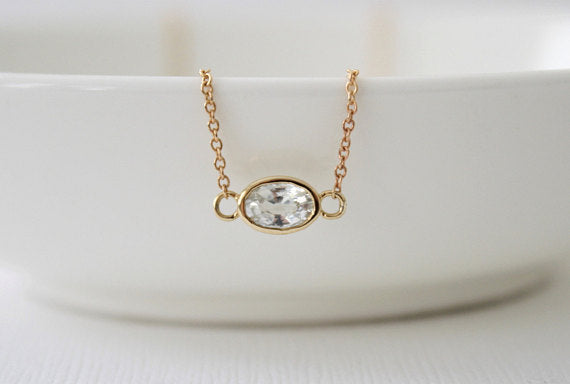 Oval White Sapphire Bezel Necklace in 14K Yellow Gold