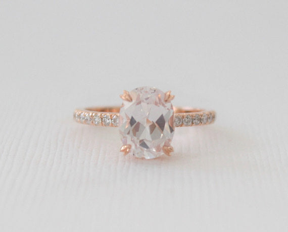 Solitaire Oval White Sapphire Diamond Engagement Ring in 14K Rose Gold