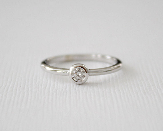 Round Solitaire Diamond Bezel Ring in 14K White Gold