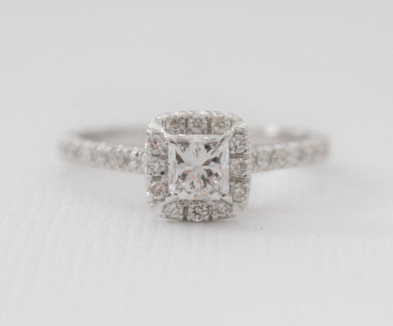 Certified Princess Cut Diamond Halo Ring in 14K White Gold