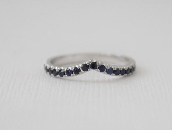 Sapphire Chevron Ring in 14K White Gold