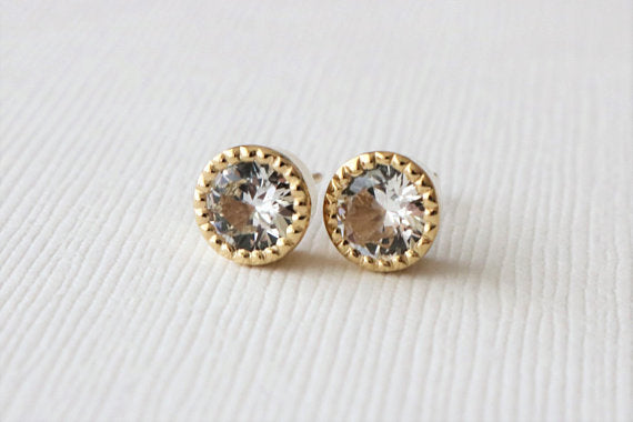 Milgrained White Sapphire Bezel Stud Earrings in 14K Yellow Gold