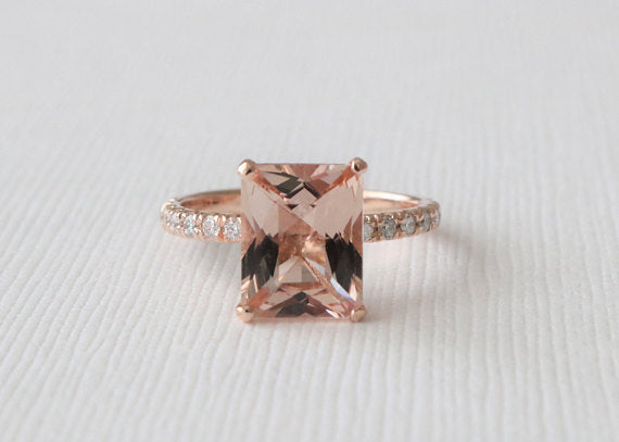 Radiant Cut Morganite Solitaire Diamond Ring in 14K Rose Gold