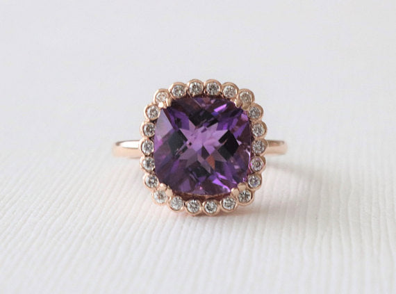 Cushion Cut Amethyst Bezel Diamond Halo Ring in 14K Rose Gold