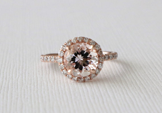 Round Morganite Diamond Halo Ring in 14K Rose Gold