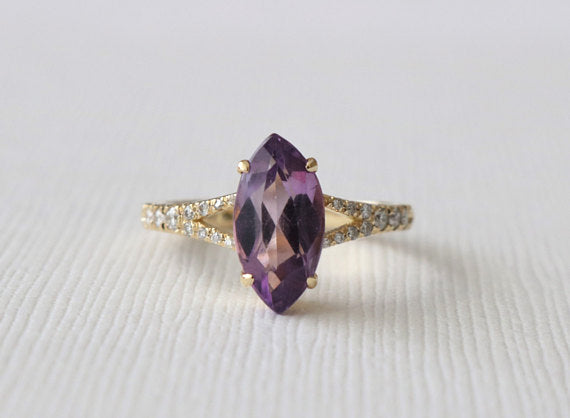 Marquise Cut Amethyst Split Shank Diamond Ring in 18K Yellow Gold