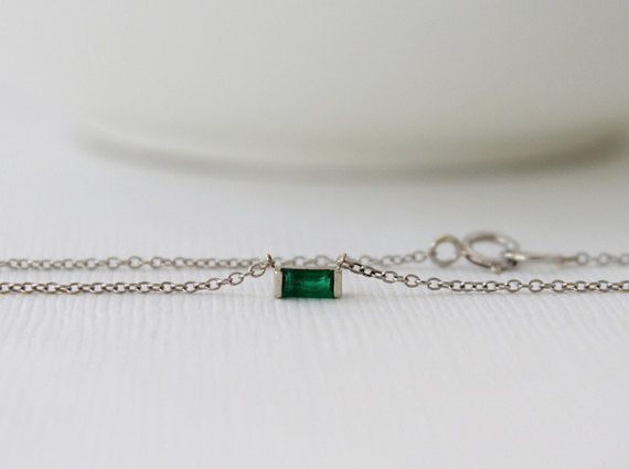 Emerald Bar Set Necklace in 14K White Gold