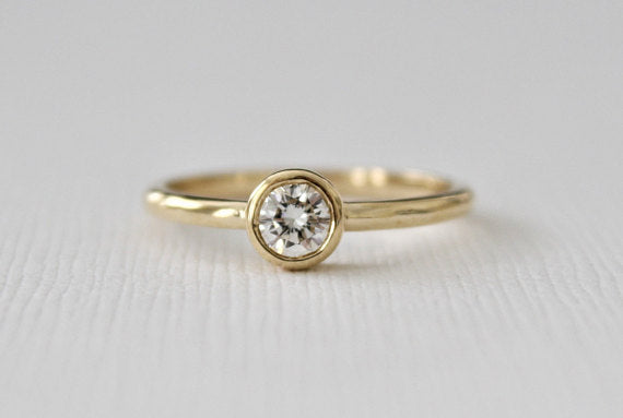Bezel Solitaire Diamond Engagement Ring in 14K Yellow Gold