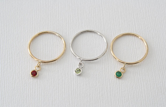 Set of Bezel Dangle Stacking Rings in 14K Solid Gold