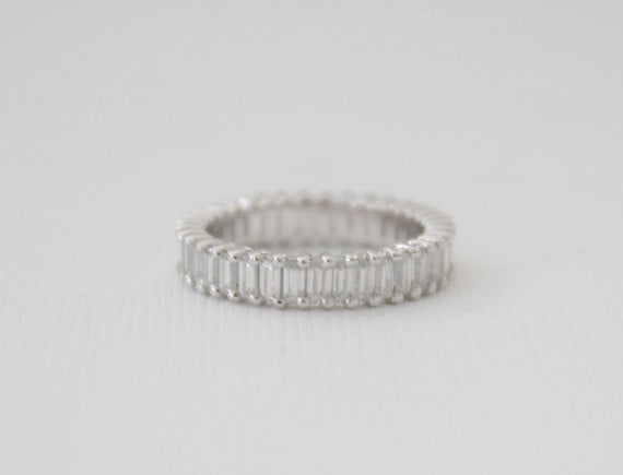 Full Eternity Baguette Moissanite Ring in 14K White Gold