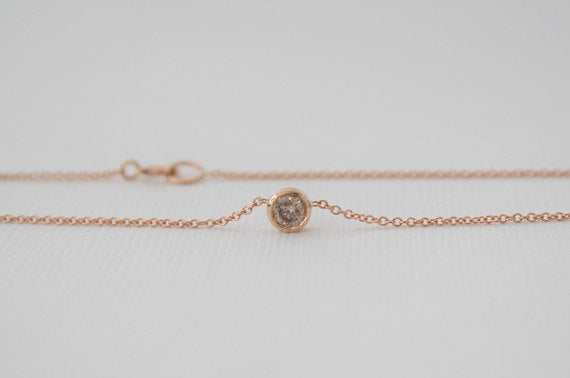 Champagne Diamond Bezel Necklace in 14K Rose Gold
