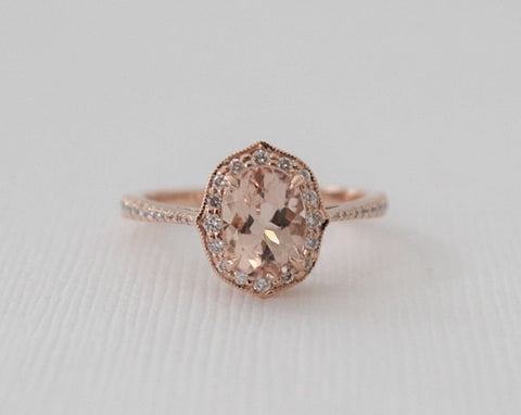 1.50 Ct. Oval Morganite Diamond Cushion Halo Ring in 14K Rose Gold