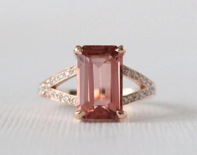 3.10 Ct. Emerald Cut Pink Tourmaline Diamond Ring in 14K Rose Gold