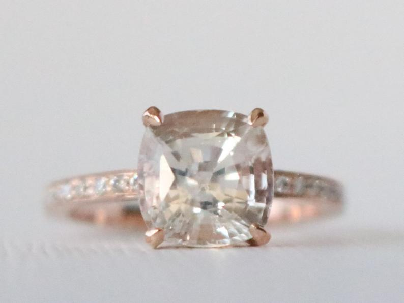 3.39 Cts. GIA Certified Peach Sapphire Cushion Cut Sapphire Diamond Solitaire Engagement Ring in 14K Rose Gold