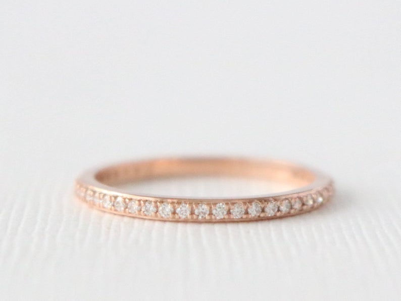Eternity Diamond Ring, Eternity Wedding Ring, Skinny Stacking Ring, Thin Wedding Band, Diamond Stacker, Eternity Gold Ring 14K Rose Gold