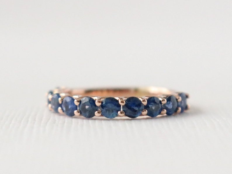 Blue Sapphire Half Eternity Ring in 14K Rose Gold