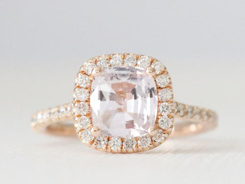 1.36 Cts. Cushion Light Pink Sapphire Diamond Halo Engagement Ring in 14K Rose Gold