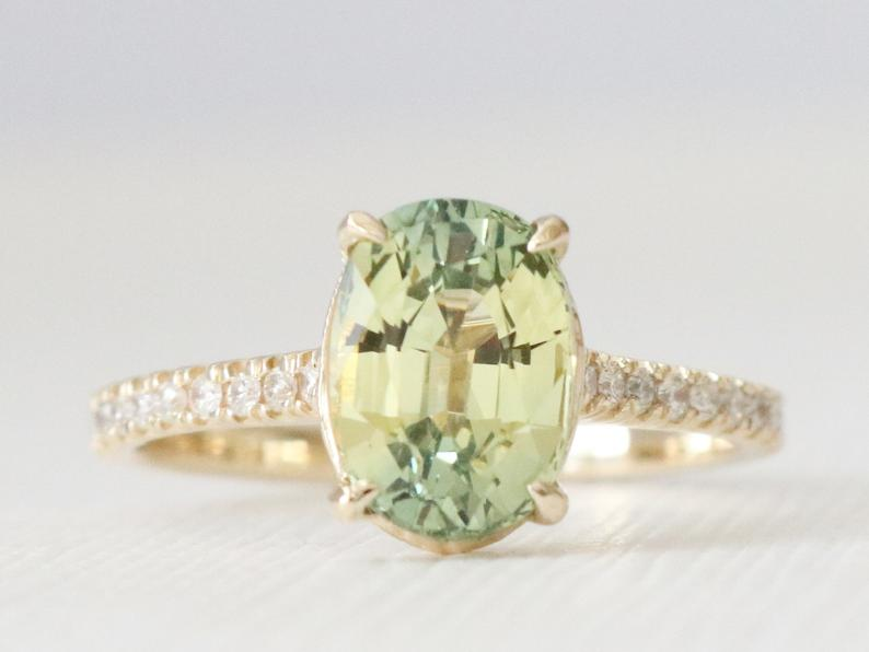 2.42 Ct. Oval Cut Solitaire Chartreuse Sapphire Ring in 14K Yellow Gold by Studio 1040