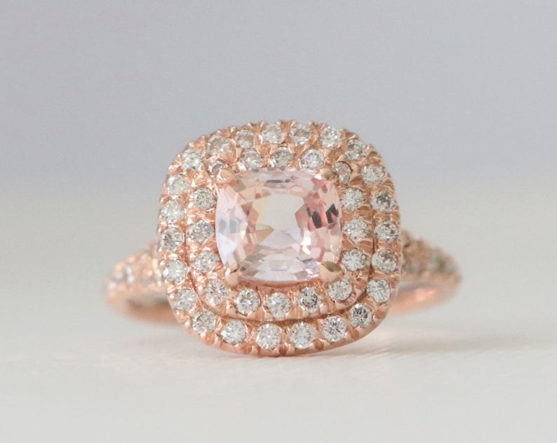Rare - GIA Certified Cushion Padparadscha Sapphire Double Halo Split Shank Diamond Engagement Ring in 14K Rose Gold