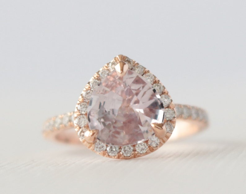 GIA 2.08 Cts. Pear Cut Light Peach Pink Sapphire Diamond Halo Engagement Ring in 14K Rose Gold
