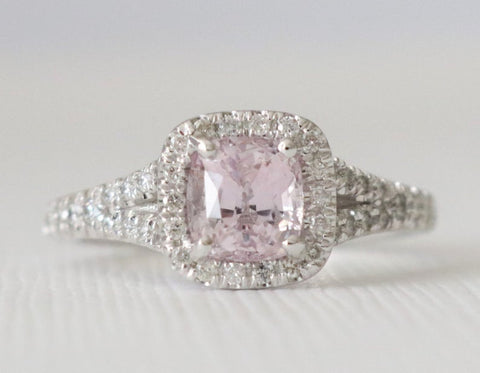 1.41 Ct Cushion Light Pink Sapphire Diamond Halo Split Shank Ring in 14K White Gold by Studio 1040