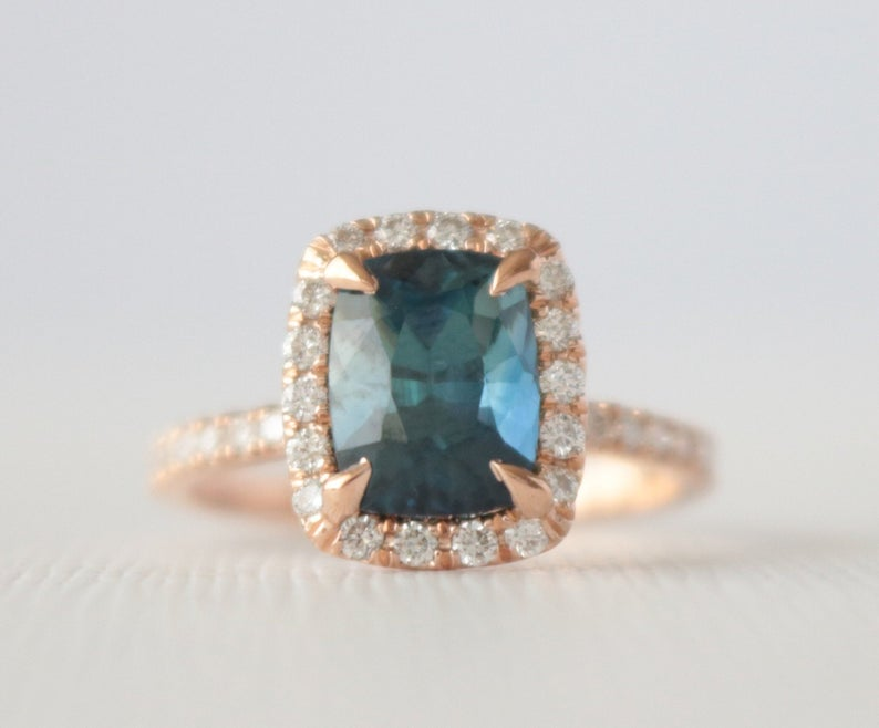 GIA 2.86 Cts. Cushion Cut Teal Sapphire Diamond Halo Ring in 14K Rose Gold